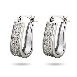 Elongated Micro Pave CZ Huggy Hoop Earrings