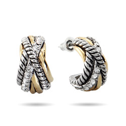 Desinger Style Crossover Cable CZ Half Hoop Earrings