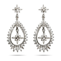 Red Carpet Style Teardrop CZ Earrings