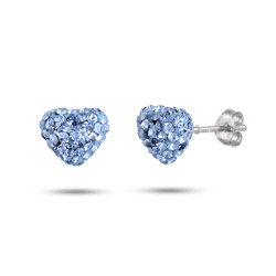 Dazzling Blue Swarovski Crystal Heart Earrings