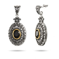 Designer Inspired Renaissance Style Black Onyx Oval Drop Earrings