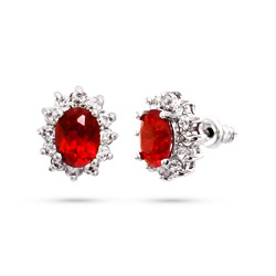 Elegant Oval Ruby CZ Stud Earrings