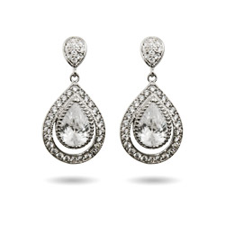 Sparkling Micropave CZ Peardrop Earrings