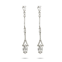 Exquisite Thin Marquise Drop CZ Earrings