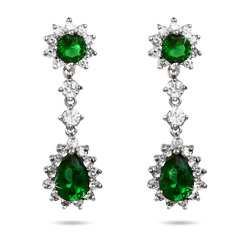 Stunning Emerald CZ Peardrop Earrings