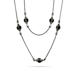 Designer Inspired 36 Inch Onyx Bead Bali Necklace