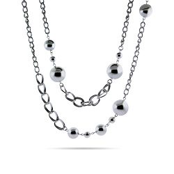Long Chain Link Beaded Necklace