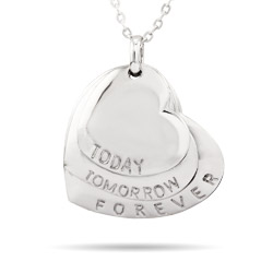 Today, Tomorrow, Forever Engravable Hearts Pendant
