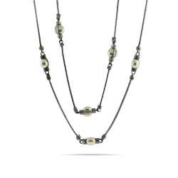 Designer Inspired 36 Inch Mother of Pearl Beaded Bali Necklace