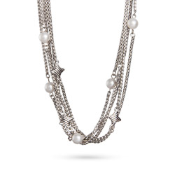 Designer Inspired Bali Style Multi Strand Pearl Necklace