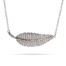 Heather's Sparkling CZ Fern Leaf Necklace