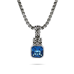Designer Inspired Blue Topaz Pendant on Bali Chain