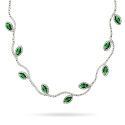 Sparkling Emerald Leaf Vine Cocktail Necklace