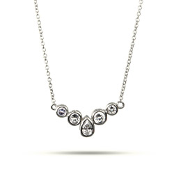 Katie's Sparkling Multi Bezel Set Pear Cut CZ Necklace