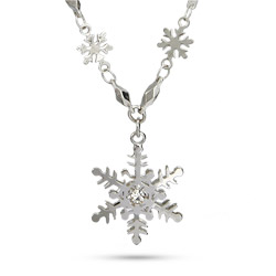 Beautiful CZ Snowflake Pendant and Chain