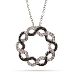 Black and Clear CZ Infinity Circle Pendant