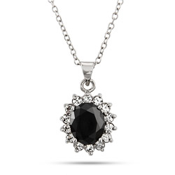 Beautiful Oval Cut CZ Onyx Pendant