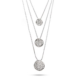 Designer Style Triple Disc Pave CZ Necklace