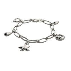 Tiffany Inspired Sterling Silver Charm Bracelet