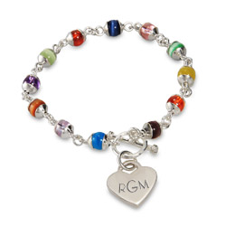 Colorful Cats Eye and Sterling Silver Heart Tag Bracelet