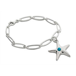 Sterling Silver Starfish Bracelet with Turquoise Bead