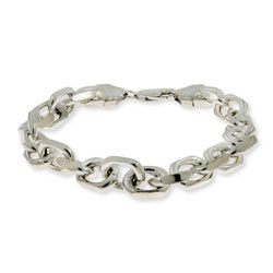Linked Anchor Chain Mens Sterling Silver Bracelet
