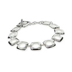 Tiffany Inspired Sterling Silver Cushion Toggle Bracelet