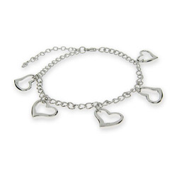 Sterling Silver Heart Charms Bracelet