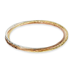 Sterling Silver Three Tone Triple Bangle Bracelet