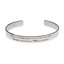 Mens Stainless Steel Serenity Prayer Cuff Bracelet