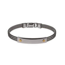 Designer Inspired Screw Motif Engravable Cable ID Bracelet
