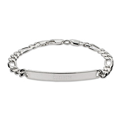 Ladies Thin Sterling Silver Figaro Link ID Bracelet