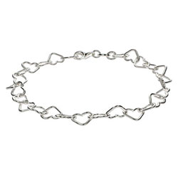 Chain of Hearts Sterling Silver Bracelet