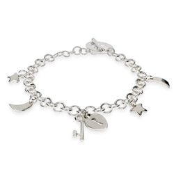 Moon, Stars, Key to My Heart Sterling Silver Charm Bracelet