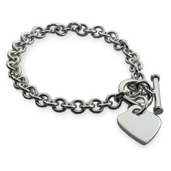 Engravable Sterling Silver Heart Tag Bracelet