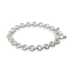 Sterling Silver Heavy Gauge 8 Inch Toggle Bracelet