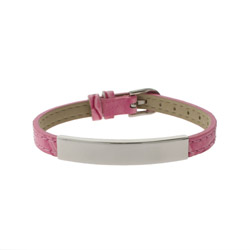 Engravable Pink Leather Buckle ID Bracelet