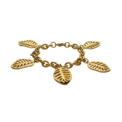 Golden Leaves Stainless Steel Charm Bracelet