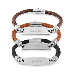 Womens Braided Leather Engravable ID Bracelet