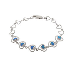 Sterling Silver & Opal Double Heart Bracelet