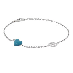 Sterling Silver Peace and Love Turquoise Heart Bracelet
