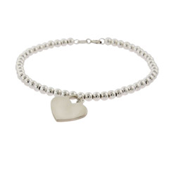 Tiffany Inspired Sterling Silver Beaded Heart Tag Bracelet