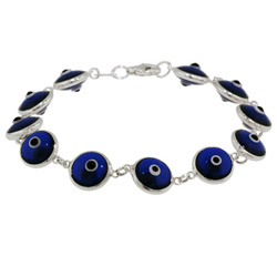 Sterling Silver Royal Blue Evil Eye Bracelet