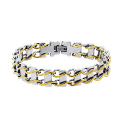 Mens Two Tone Ladder Link Steel Bracelet