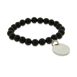 Engravable Genuine Black Onyx Power Bead Bracelet