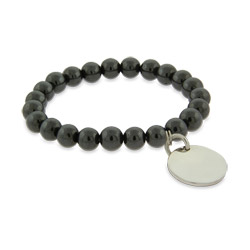 Engravable Genuine Hematite Power Bead Bracelet