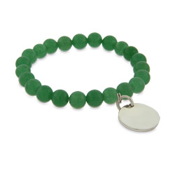 Engravable Genuine Green Aventurine Power Bead Bracelet