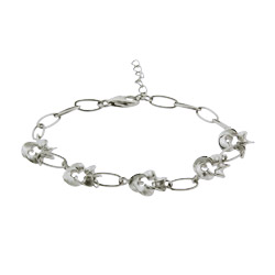 Pretty Sterling Silver Petite Five Flower Bracelet