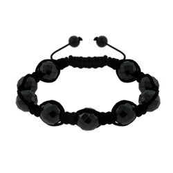 Black Faceted Hematite Bead Luck Shamballa Inspired Bracelet