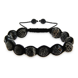 Crackled Black Agate Shamballa Inspired Bracelet